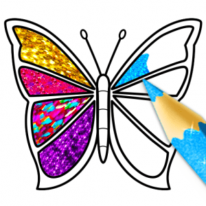 Glitter Butterfly Coloring