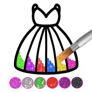 Glitter dress coloring book